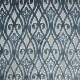 Sofia - Celeste - Light grey and dusky blue coloured polyester fabric patterned with overlapping wavy lines and swirls