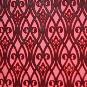 Sofia - Vino - Fabric made from polyester with a dark red-grey design of overlapping wavy lines and swirls on a light pink background