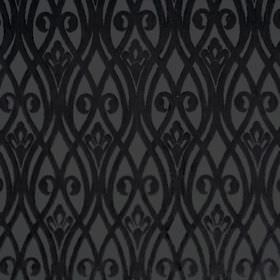 Sofia - Nerissimo - Elegant black and grey fabric featuring a pattern of wavy lines and swirls which are overlapping