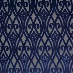 Sofia - Orizzonte - Polyester fabric with a design of overlapping wavy lines and swirls in light grey and navy blue