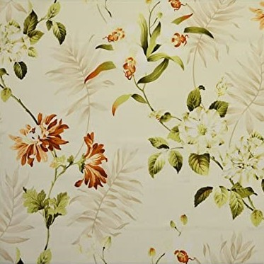 Bayswater - Autumn - Leaf print patterned 100% cotton fabric made in colours such as white, ivory, rust and light khaki
