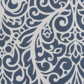 Beaufort - Chambray - Large, ornate patterns and leaves creating a stylish, sophisticated white and dark blue design on 100% cotton fabric
