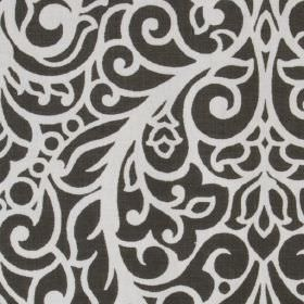 Beaufort - Charcoal - 100% cotton fabric made in white and a very dark shade of grey, printed with large, sophisticated, ornate patterns