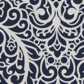Beaufort - Navy - Fabric made from 100% cotton, with large, ornate, sophisticated patterns in very pale grey and very dark blue-black