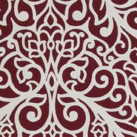 Beaufort - Red - Burgundy and white coloured large, ornate, sophisticated patterns printed on fabric made from 100% cotton