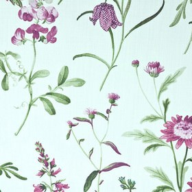 Botanical - Chintz - Thistle patterned 100% cotton fabric with a design in bright purple and dark green shades on icy blue 100% cotton fabri
