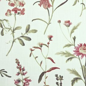 Botanical - Coral - Dark shades of red and grey making up a thistle pattern ona white 100% cotton fabric background