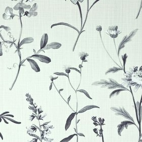 Botanical - Dove - 100% cotton fabric in white, printed with a thistle design in several similar dark shades of grey