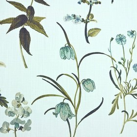 Botanical - Teal - Light grey and teal patterned flowers with olive green and dark grey leaves on white fabric made from 100% cotton