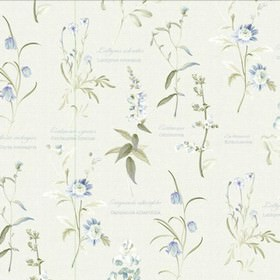 Botanical Garden - Blue - Light shades of grey making up a print of various different flowers with text on a white 100% cotton fabric backgr