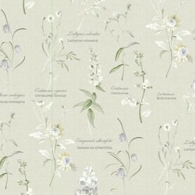 Botanical Garden - Harvest - Pale grey 100% cotton fabric printed with some text and various different flowers in white and darker grey shad
