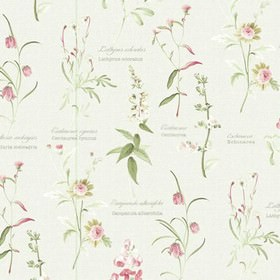 Botanical Garden - Spring - Various dark pink, dusky green and white coloured flowers printed with some grey text on 100% cotton fabric in o