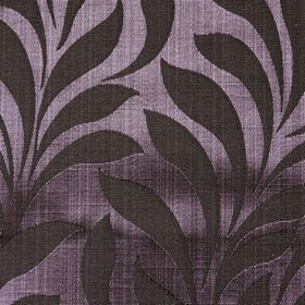 Bronte - Aubergine - Luxurious silvery purple and very dark purple coloured polyester and cotton blend fabric, with large, elegant, simple leave