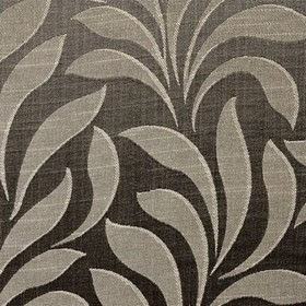 Bronte - Charcoal - Large, simple, light grey leaves with pale grey highlights on a charcoal coloured polyester and cotton fabric background