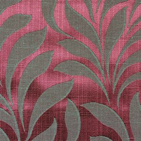 Bronte - Rose - Lustrous dark pink polyester & cotton blend fabric patterned with large, simple, elegant leaves in an elegant grey shade