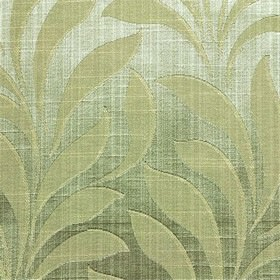 Bronte - Sage - Fabric made from polyester and cotton in light shades of green and white, with a large, simple, elegant leaf design