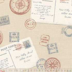 Voyage - Heritage - Fabric made from 100% cotton with a cream, white, dusky red and light blue postal theme of stamps, postcards & compasses