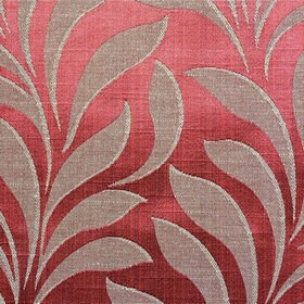 Bronte - Scarlet - Polyester and cotton blend fabric made in a lustrous strawberry colour, with large, simple, elegant pink-grey leaves