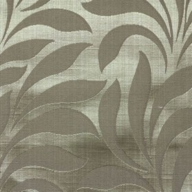 Bronte - Silver - Chrome grey and gunmetal grey making up a lustrous, elegant, simple leaf pattern on fabric made from polyester and cotton