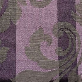 Camden Stripe - Aubergine - Elegant dark grey swirls on a vertically striped polyester and cotton blend fabric made in dark and light shades o
