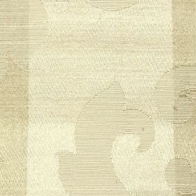 Camden Stripe - Gold - Elegant, subtle swirl patterns on a vertically striped background of light cream and beige polyester and cotton fabri