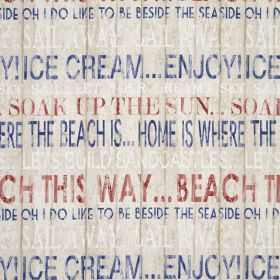 Boardwalk - Heritage - Beach themed text in dark blue and red on a 100% cotton fabric background in a creamy shade of grey