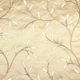 Camilla - Antique - White leaves and coffee coloured stems made with viscose embroidery on a cream 100% polyester fabric background