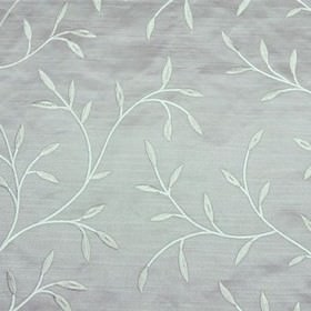 Camilla - Grey - Light blue-grey 100% polyester fabric, featuring a classy leaf and stem design made from icy blue viscose embroidery