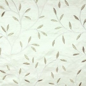 Camilla - Ivory - Viscose embroidery making up a silvery grey leaf and stem pattern on very pale icy blue 100% polyester fabric