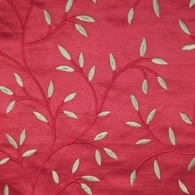 Camilla - Red - Stem and leaf patterned fabric made from 100% polyester in raspberry and silver-grey colours, with viscose embroidery