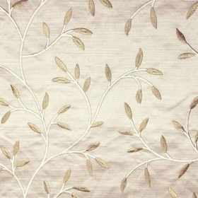 Camilla - Sand - Very pale silver-white making up viscose embroidered stems with battleship grey leaves on 100% polyester fabric
