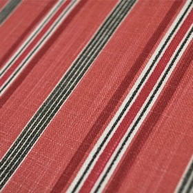 Cavendish - Coral - Burgundy, light red, black and white stripes of different widths making up a striking design on 100% cotton fabric