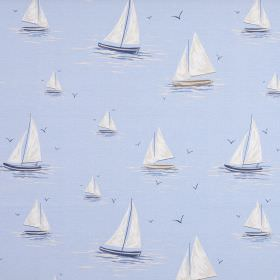 Clipper - Harbour Blue - White, blue and grey sailboats patterning fabric made entirely from cotton in a light powder blue colour