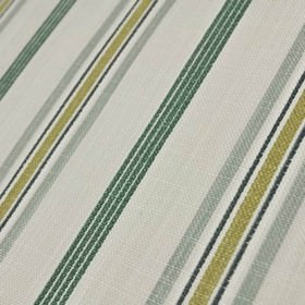 Cavendish - Eggshell - Four thin emerald green coloured, closely spaced stripes on a chalk white coloured 100% cotton fabric background