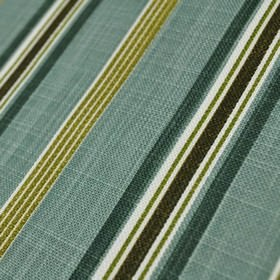 Cavendish - Teal - Striped fabric made from 100% cotton, with a design in colours such as duck egg blue, dark teal, white and olive green