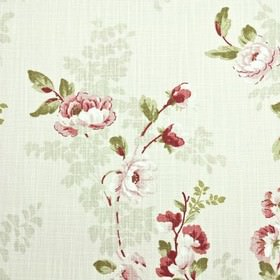 Chatsworth - Coral - Floral patterned fabric made in white, with a sophisticated design in dark and light shades of burgundy and grass green