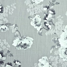 Chatsworth - Dove - Elegant, sophisticated shades of grey making up a stylish floral pattern on steel grey coloured 100% cotton fabric