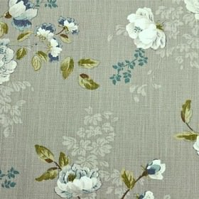 Chatsworth - Taupe - Dove grey coloured fabric made from 100% cotton, with stylish florals in turquoise, white, pale greenand forest green