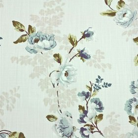Chatsworth - Teal - Dark forest green, navy blue and light shades of blue and grey making up an elegant floral design on 100% cotton fabric