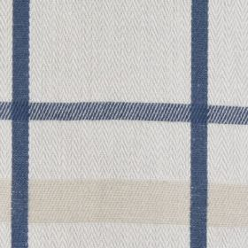 Cove Check - Chambray - 100% cotton fabric featuring a very simple checked design in chalk white, pale beige and navy blue colours