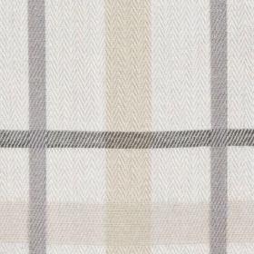 Cove Check - Charcoal - Chalk white, beige, iron grey and slate grey coloured 100% cotton fabric, made with a very simple, classic checked des
