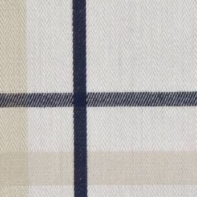 Cove Check - Navy - Checked fabric made from 100% cotton, with a very simple design in black, cream, white and midnight blue