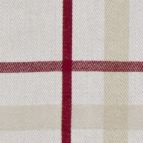 Cove Check - Red - Burgundy, cream and pale grey making up a very simple checked design on a plain white 100% cotton fabric background