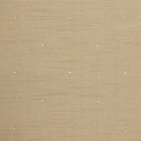 Diamante - Cream - Light brown-grey coloured 100% polyester fabric patterned with a small, bright white polka dot