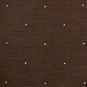 Diamante - Mocha - Fabric made with a bright white polka dot on a dark chocolate brown coloured 100% polyester background
