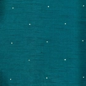 Diamante - Peacock - A small polka dot in white on a background of luxurious, deep teal coloured 100% polyester fabric