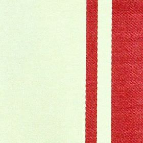 Eden Stripe - Rouge - Fabric made from bright red and milk white coloured polyester & cotton, featuring a simple, bold vertical stripe desig