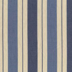 New Haven - Harbour Blue - Vertical stripes in cream and two similar shades of denim blue on fabric made entirely from cotton