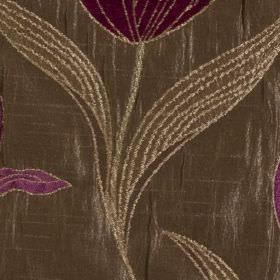 Florentine - Cerise - Large, embroidered floral and leaf designs patterning polyester and viscose blend fabric made in brown and dark purple