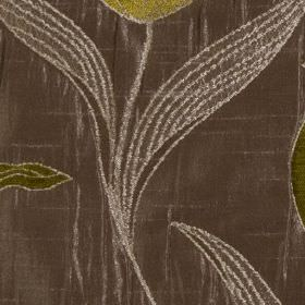 Florentine - Lime - Dark, luxurious grey-purple polyester and viscose blend fabric, embroidered with flowers and leaves in forest green